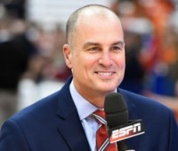 Feb 14, 2015; Syracuse, NY, USA; ESPN analyst Jay Bilas looks on prior to the game between the Duke Blue Devils and the Syracuse Orange at the Carrier Dome. Duke defeated Syracuse 80-72. Mandatory Credit: Rich Barnes-USA TODAY Sports